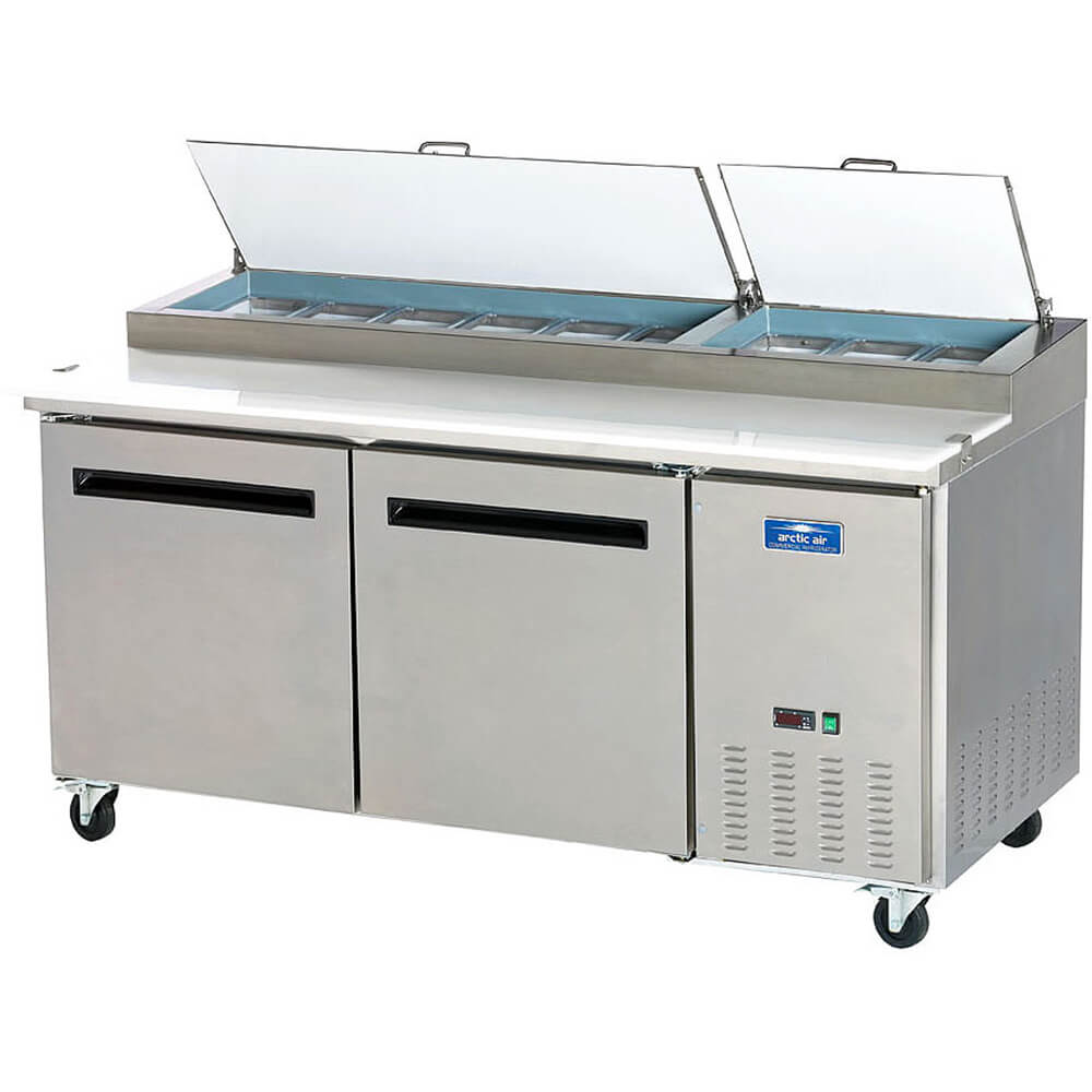 Stainless Steel, Double Door Refrigerated Pizza Prep Table View 2