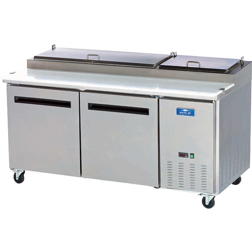 Stainless Steel, Double Door Refrigerated Pizza Prep Table