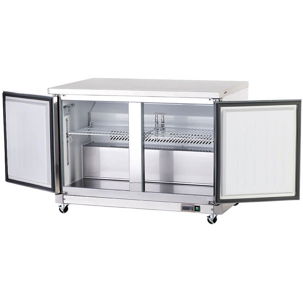 Stainless Steel, Double Door Undercounter / Worktop Freezer View 2