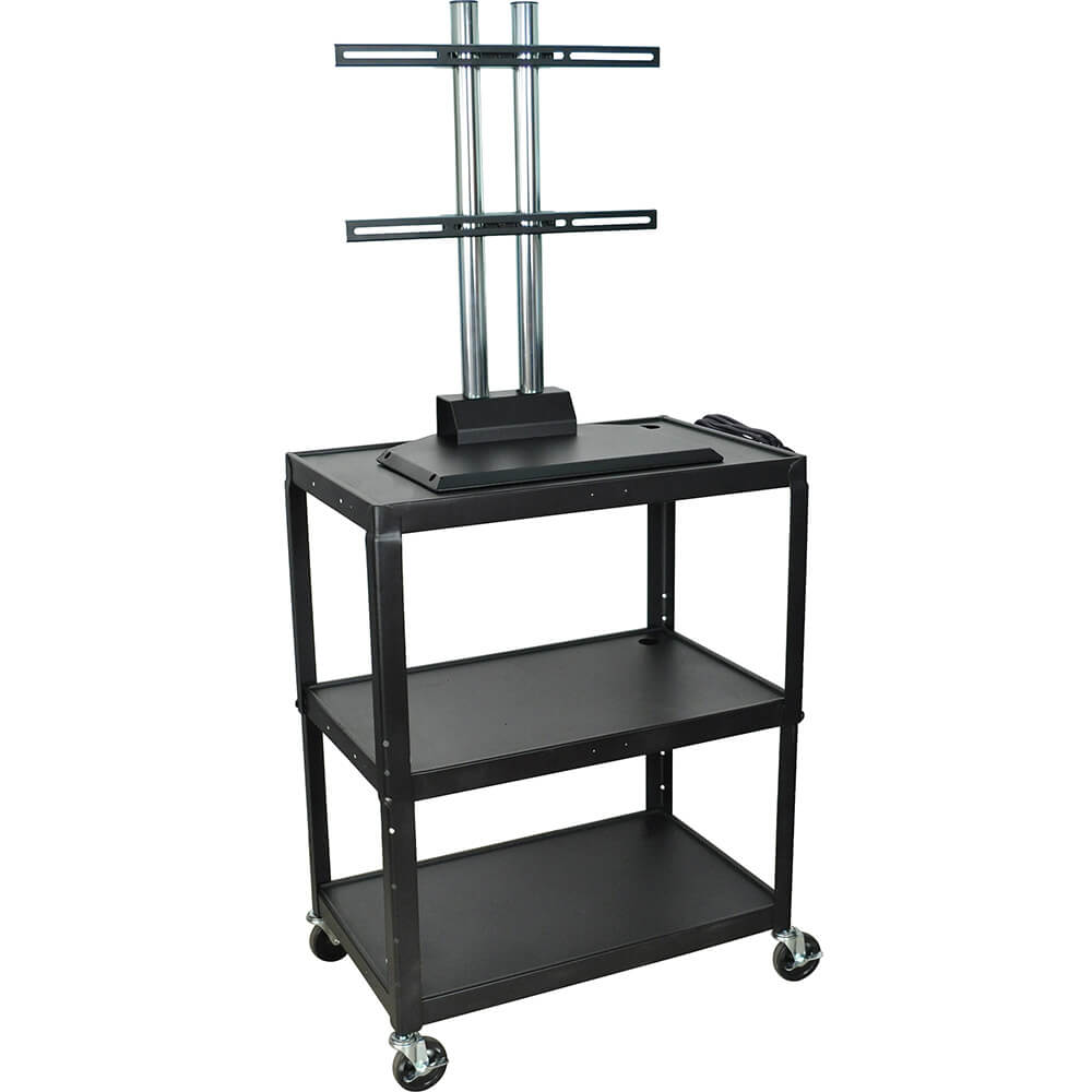 "Black, 20"" X 32"" AV Cart / Flat Screen TV Stand, Adjustable Height"