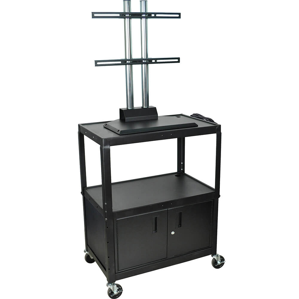 "Black, 20"" X 32"" AV Cart / Flat Screen TV Stand, Adjustable Height W/ Storage"