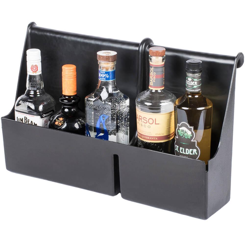 Black, Plastic 5 Bottle Liquor Bottle Holder with Hanging Edge View 2