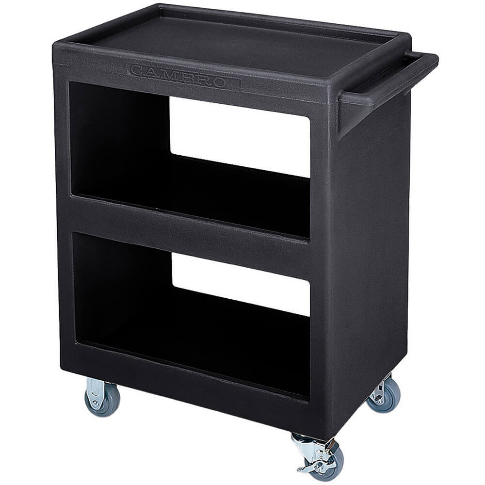 "Black, 28"" x 16"" Service Cart, Open, 4 Swivel Casters"