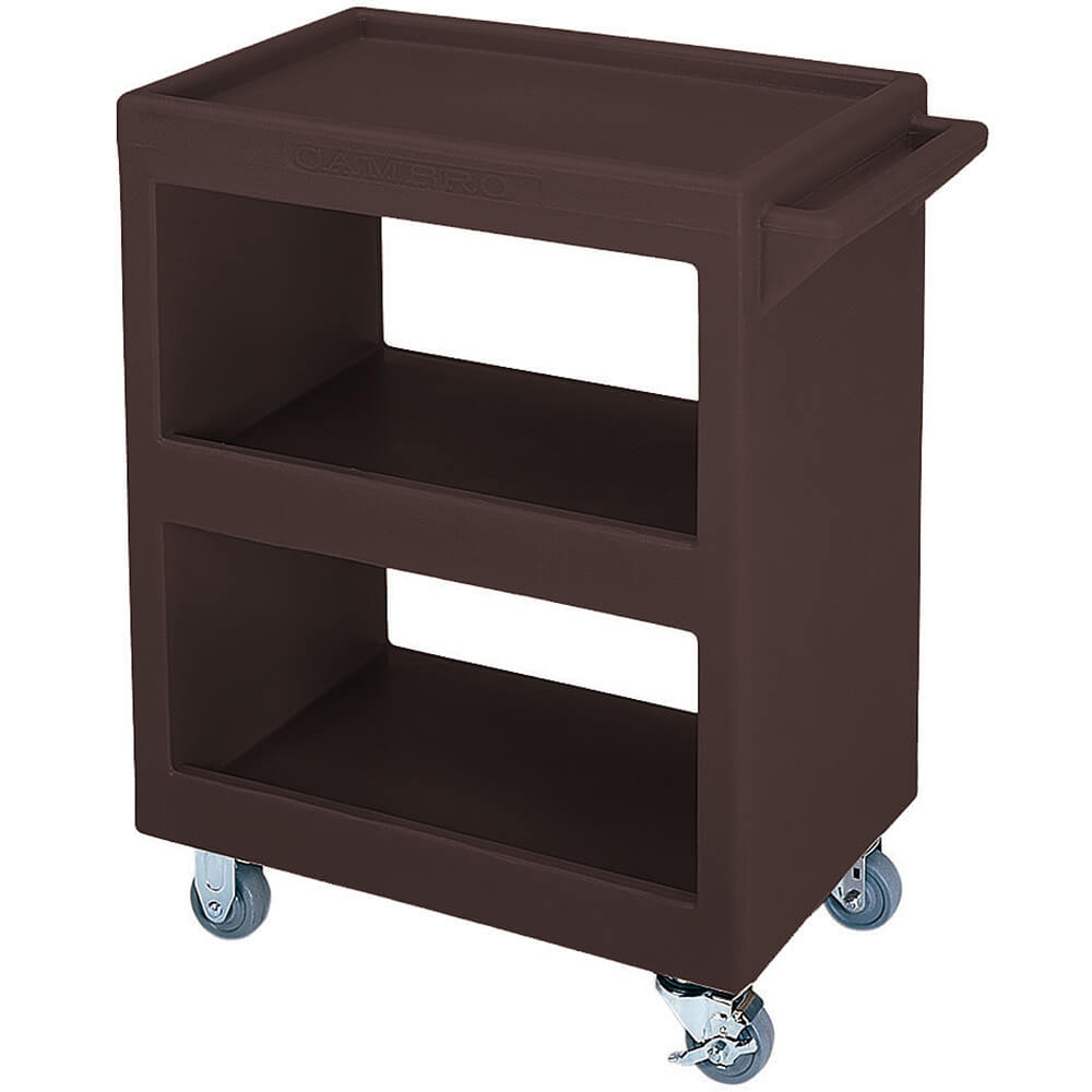 "Dark Brown, 28"" x 16"" Service Cart, Open, 4 Swivel Casters"