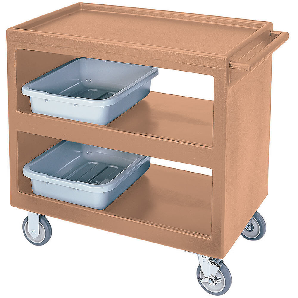 "Coffee Beige, 37-1/4"" x 21-1/2"" Service Cart, Open, 4 Swivel Casters"