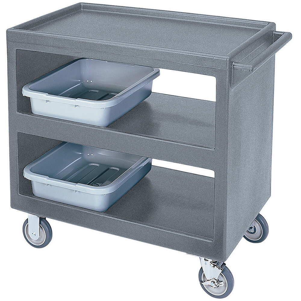 "Granite Gray, 37-1/4"" x 21-1/2"" Service Cart, Open, 4 Swivel Casters"