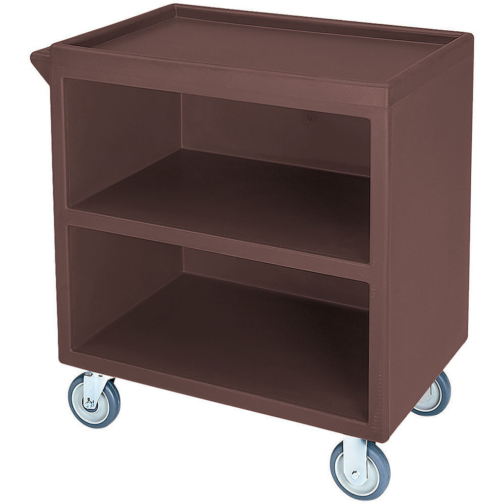 "Dark Brown, 33-1/8"" x 20"" Service Cart, Enclosed, 4 Swivel Casters"