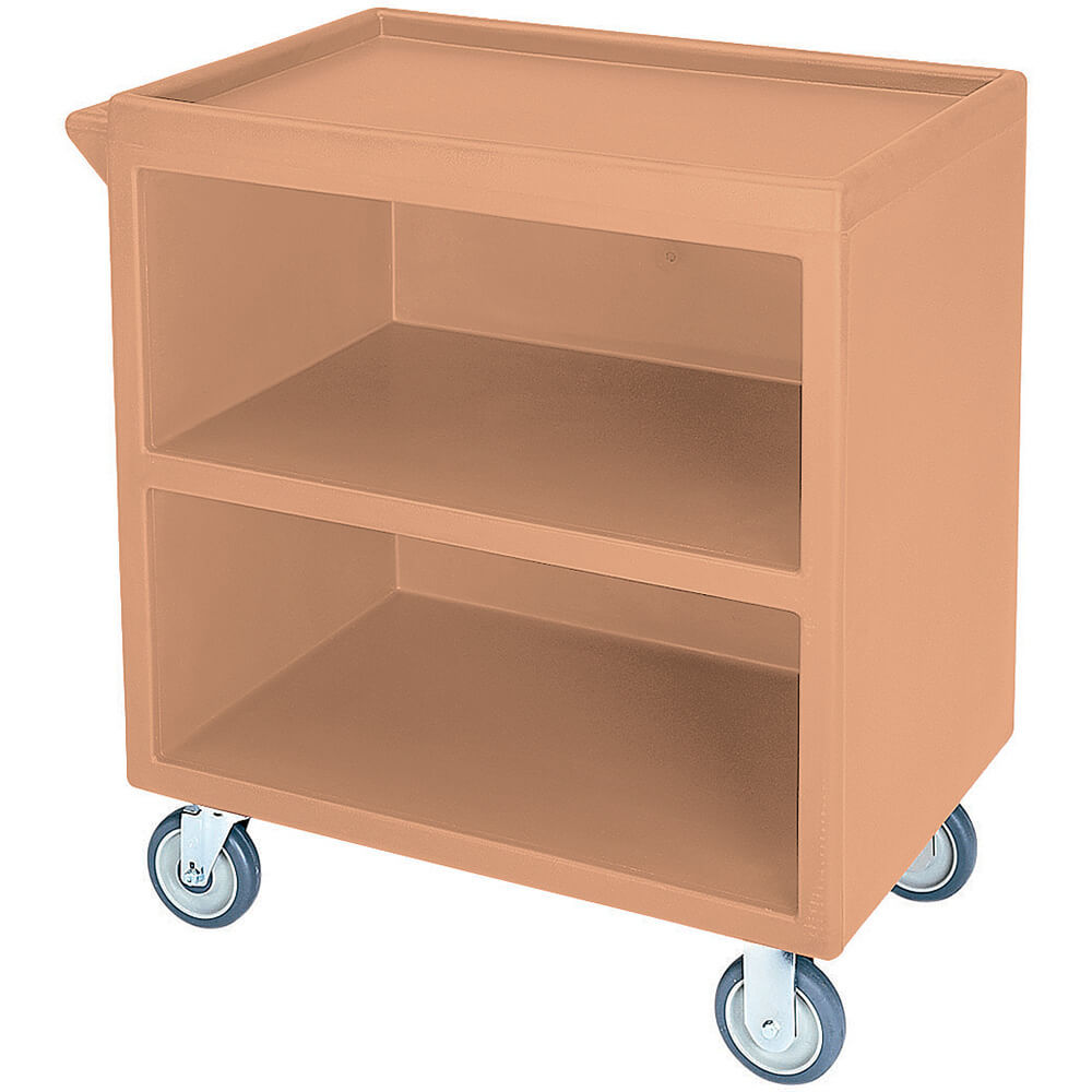 "Coffee Beige, 33-1/8"" x 20"" Service Cart, Enclosed, 2 Swivel Casters"