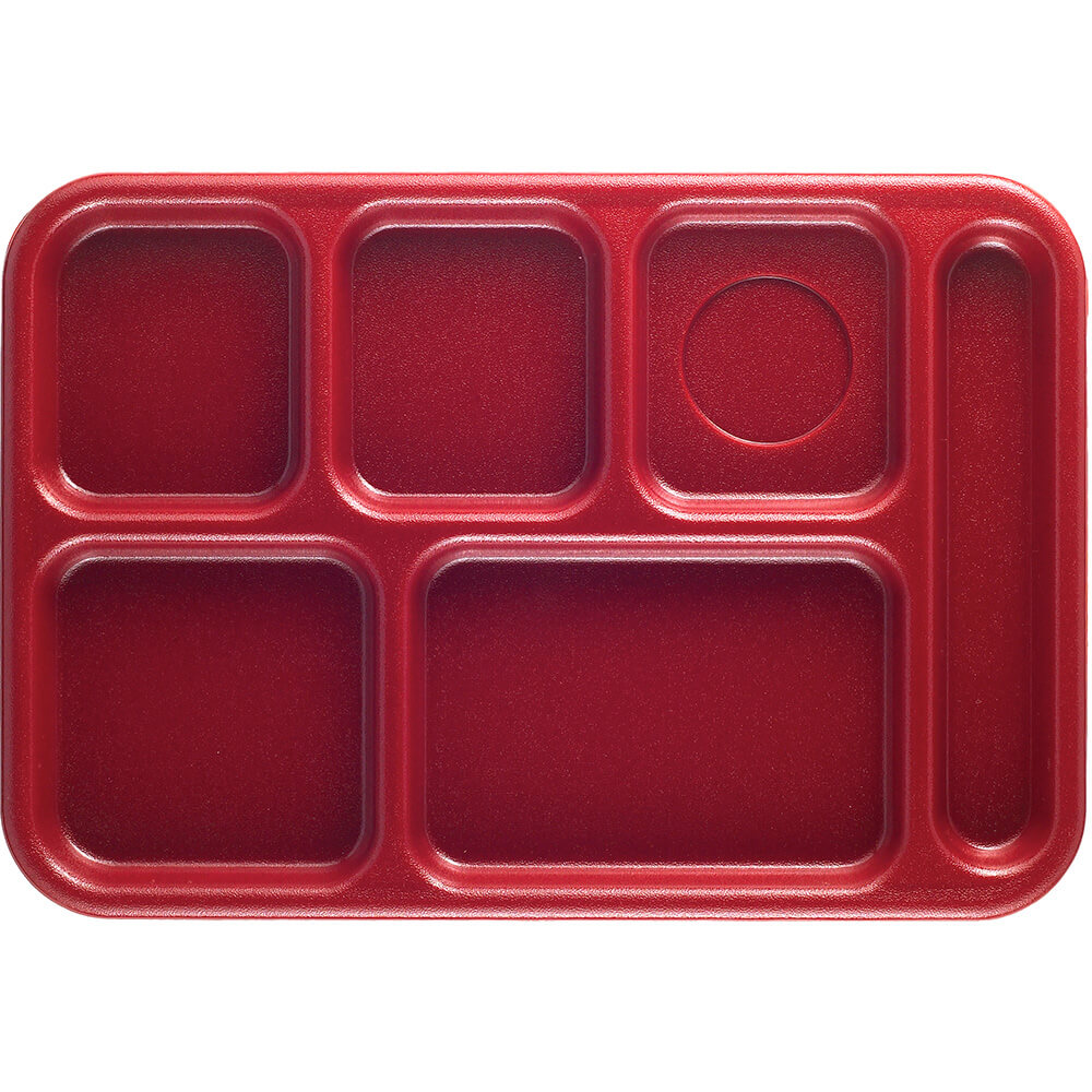 Rose Red, 6-Compartment Plastic Lunch Tray, 24/PK