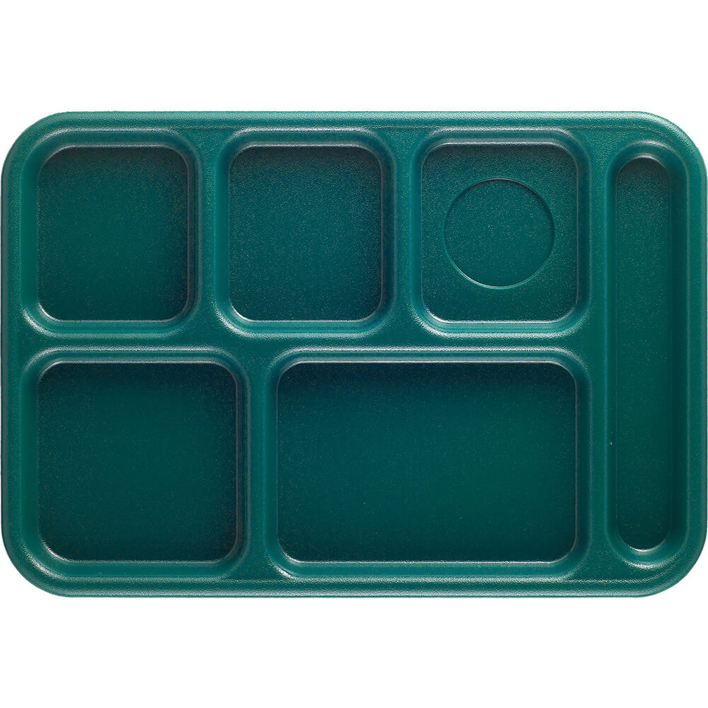 Teal, 6-Compartment Plastic Lunch Tray, 24/PK