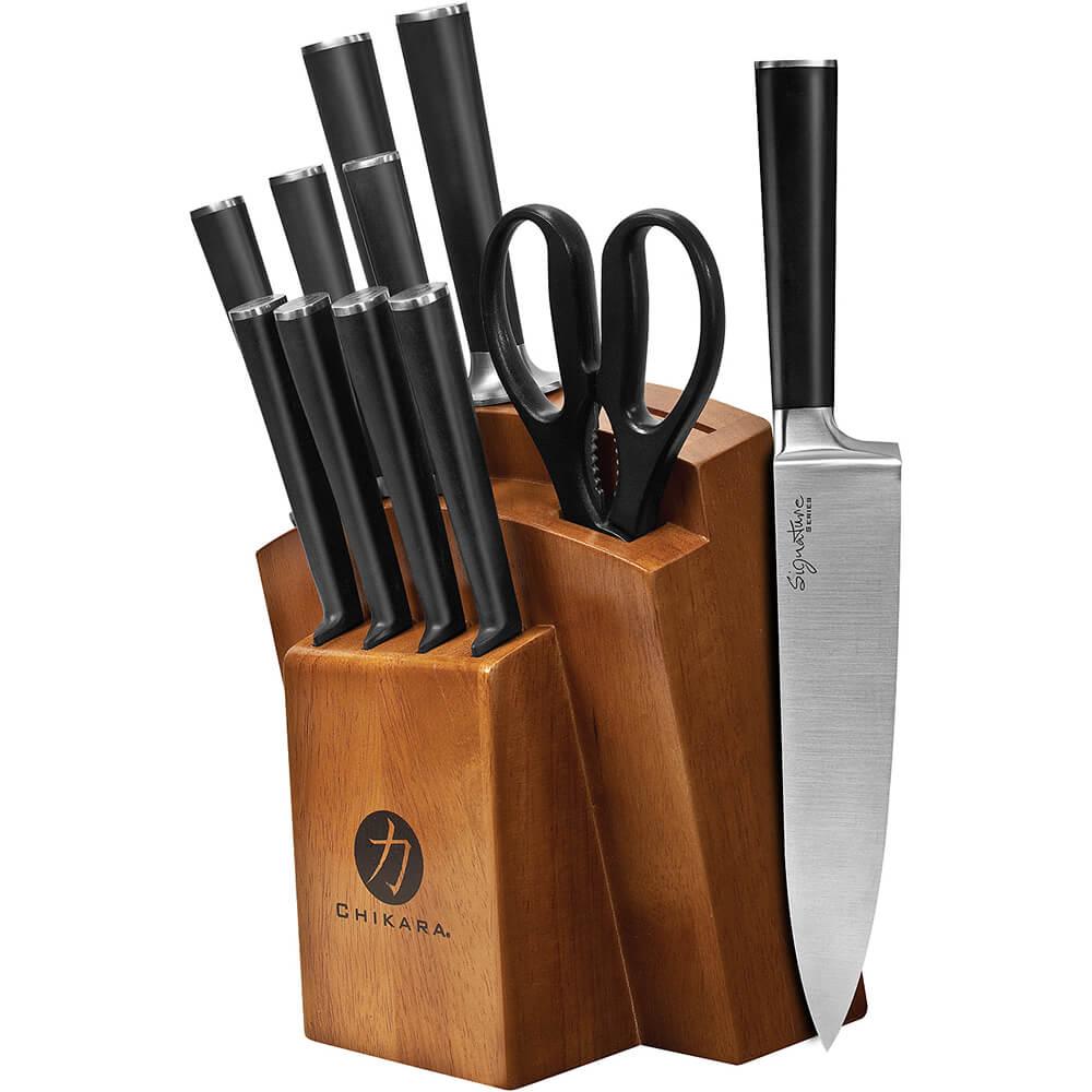 Toffee, Chikara Signature 12-Piece Knife Set, Finished Hardwood Block, Forged 420J2 Blades
