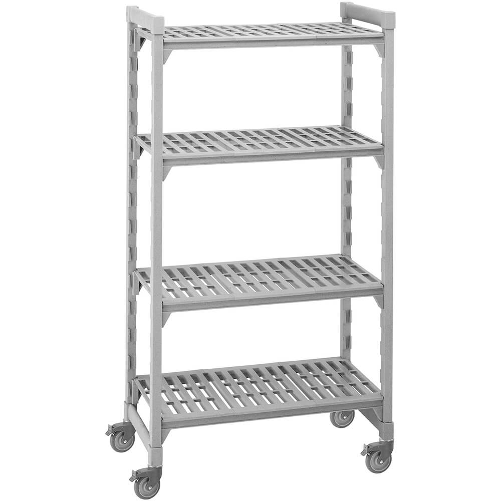 "Speckled Gray, Mobile Shelving Unit, 36"" x 18"" x 67"", 4 Shelves, Premium Casters"