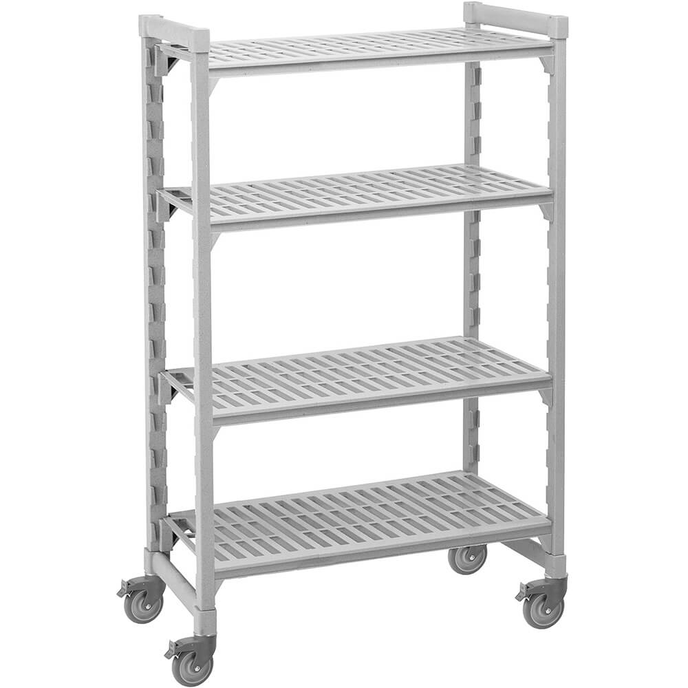 "Speckled Gray, Mobile Shelving Unit, 42"" x 18"" x 67"", 4 Shelves, Premium Casters"