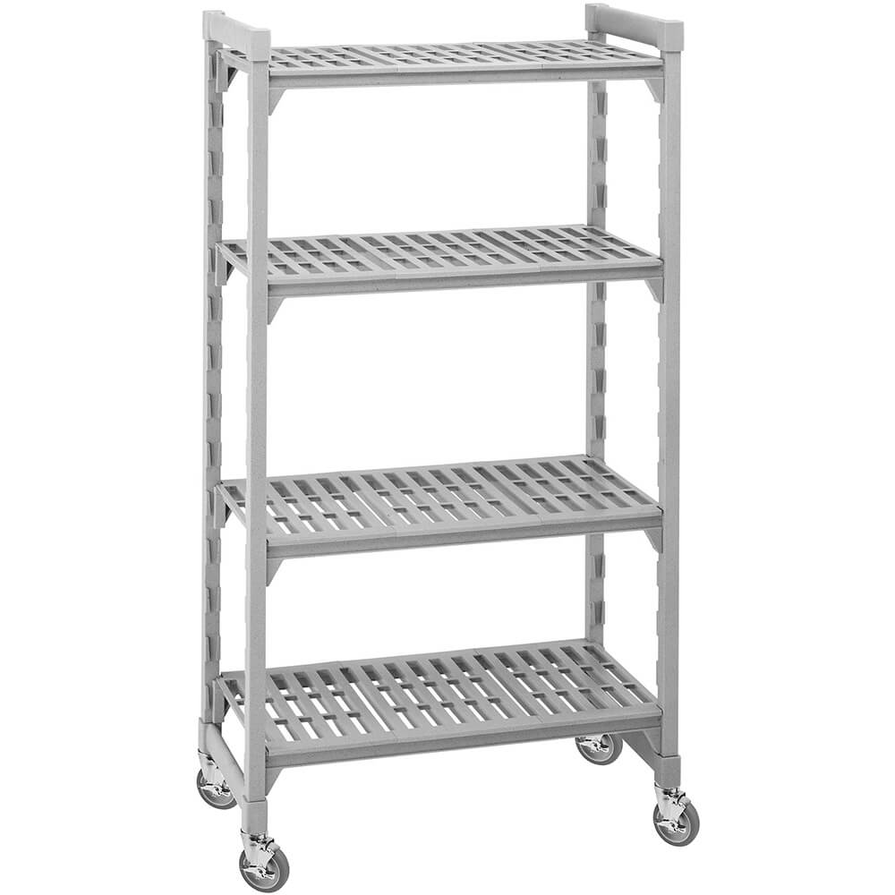 "Speckled Gray, Mobile Shelving, 4 Solid Shelves, 24"" x 36"" x 75"""