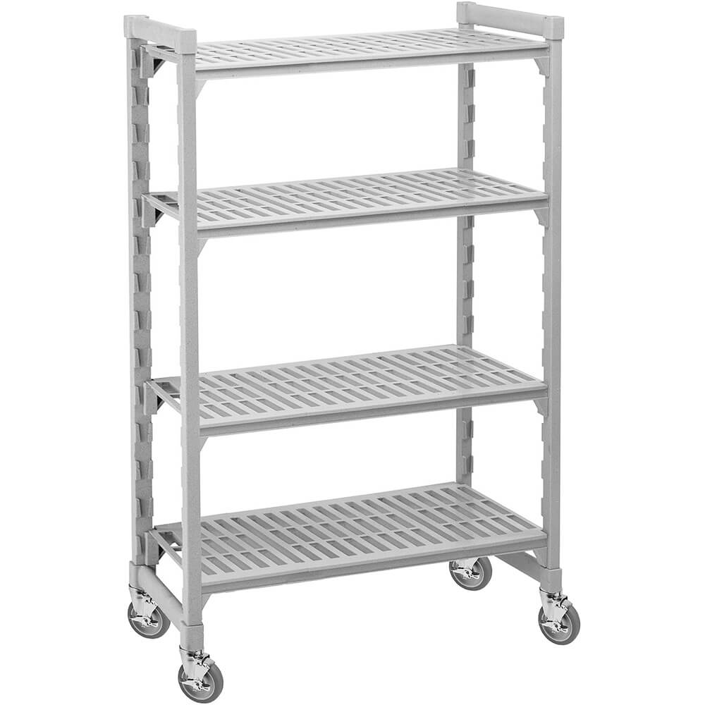 "Speckled Gray, Mobile Shelving, 4 Solid Shelves, 24"" x 42"" x 75"""