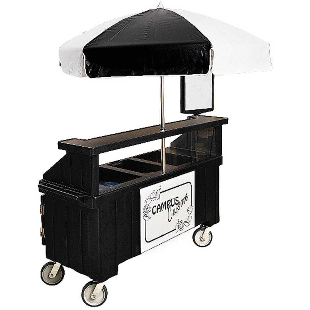 Black, Vending Cart with Umbrella, 1 Pan, 6ft View 2