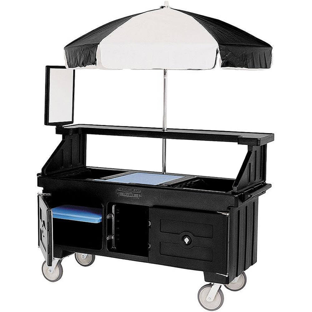 Black, Vending Cart with Umbrella, 1 Pan, 6ft