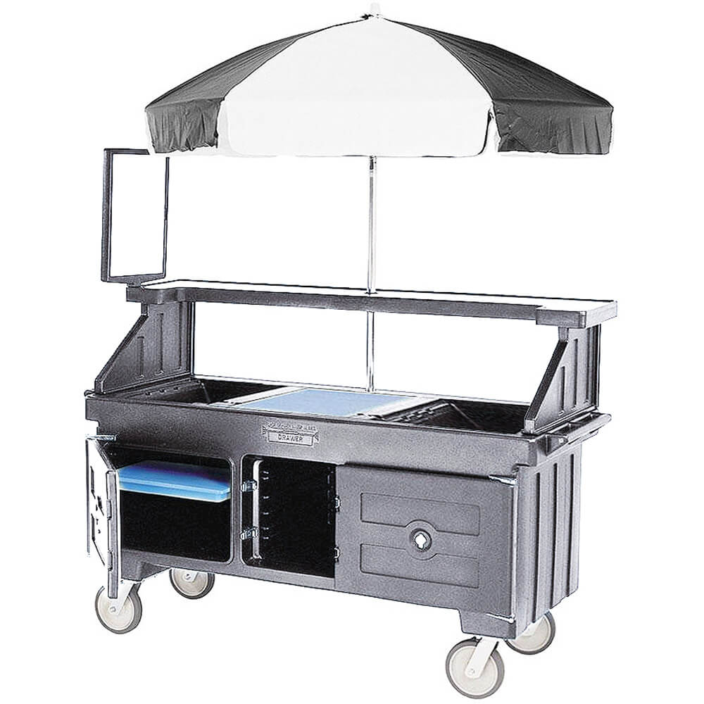 Granite Gray, Vending Cart with Umbrella, 1 Pan, 6ft
