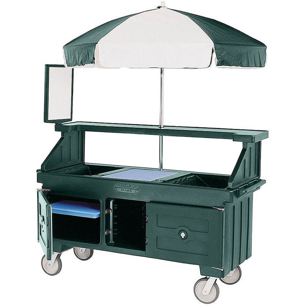 Green, Vending Cart with Umbrella, 4 Pans, 6ft