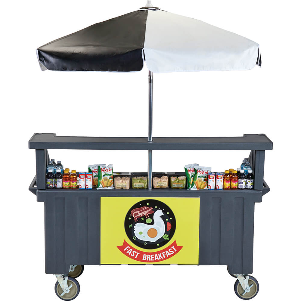 Granite Gray, Vending Cart with Umbrella, 4 Pans, 6ft View 2