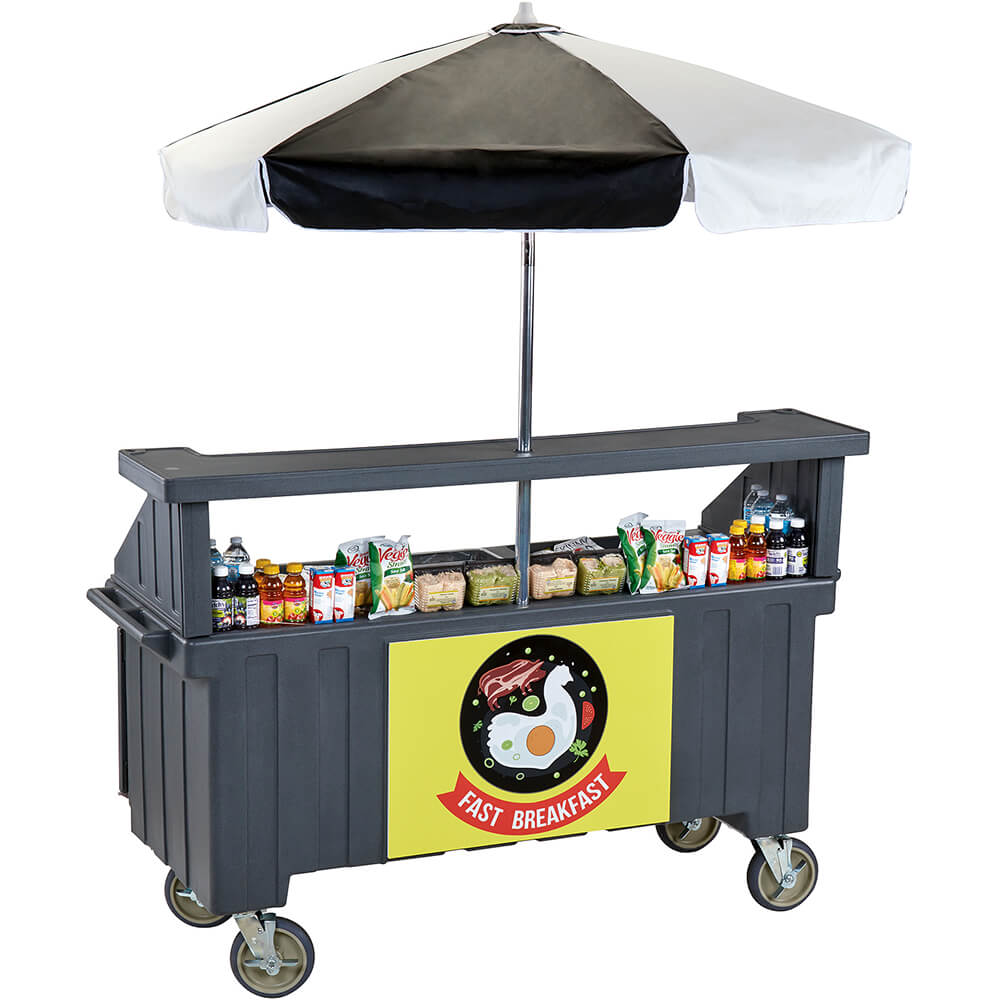 Granite Gray, Vending Cart with Umbrella, 4 Pans, 6ft View 3