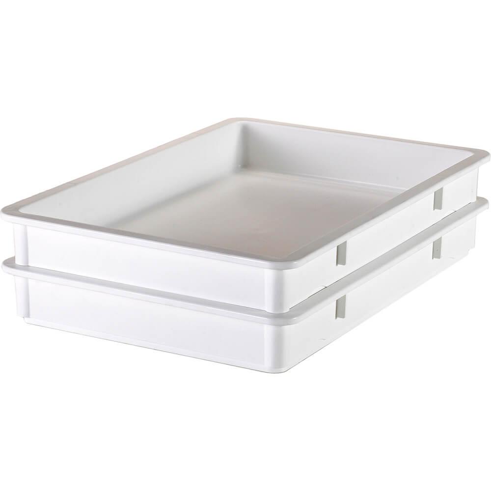 "White, Polypropylene Pizza Dough Boxes, 3"" Deep, 6/PK"