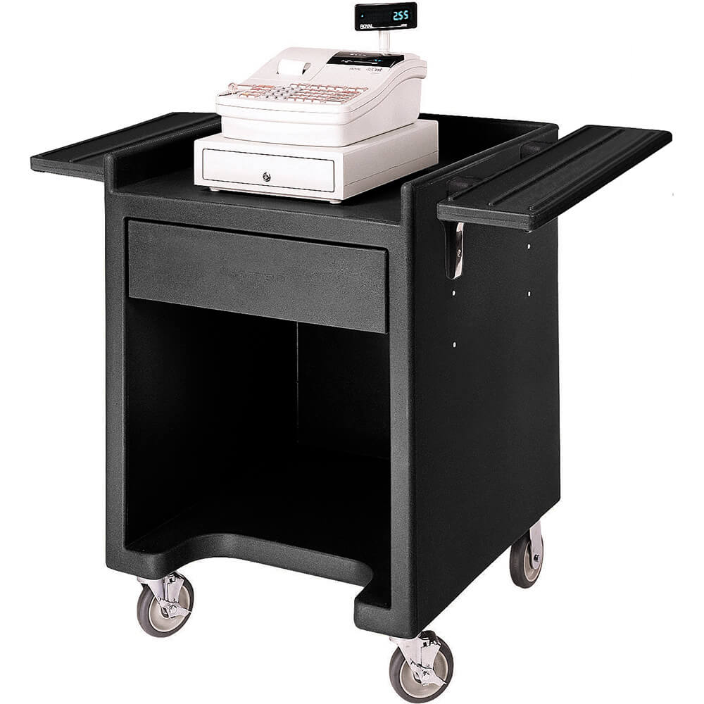 Black, Cash Register Stand with Dual Tray Rail