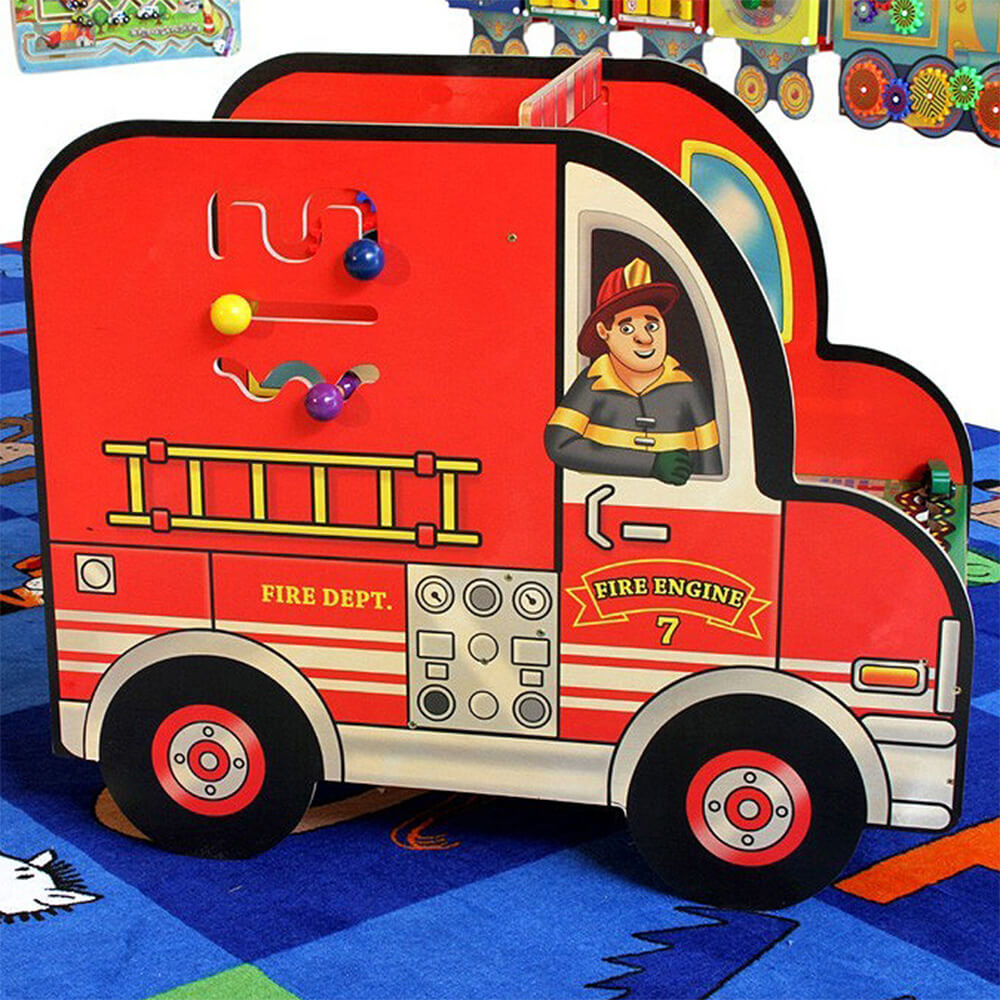 Wooden Fire Truck Activity Center View 4