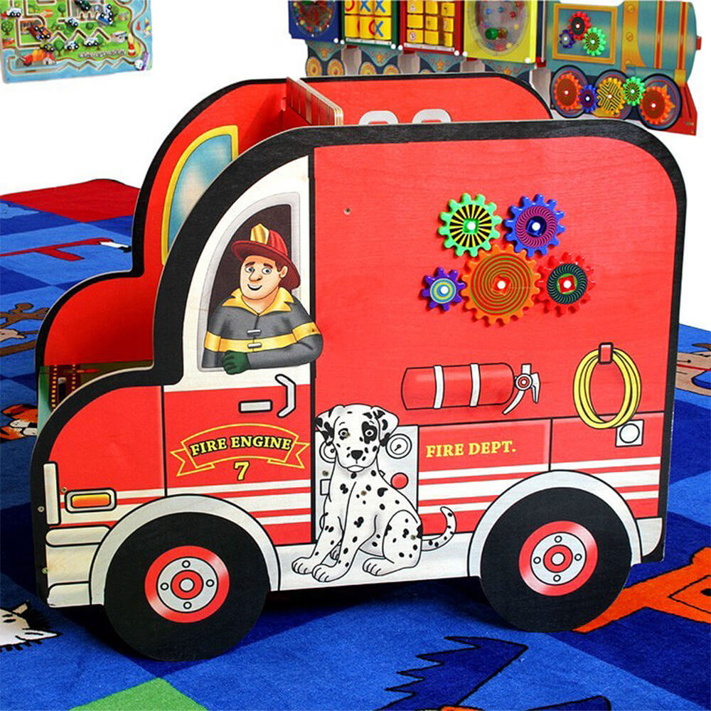 Wooden Fire Truck Activity Center