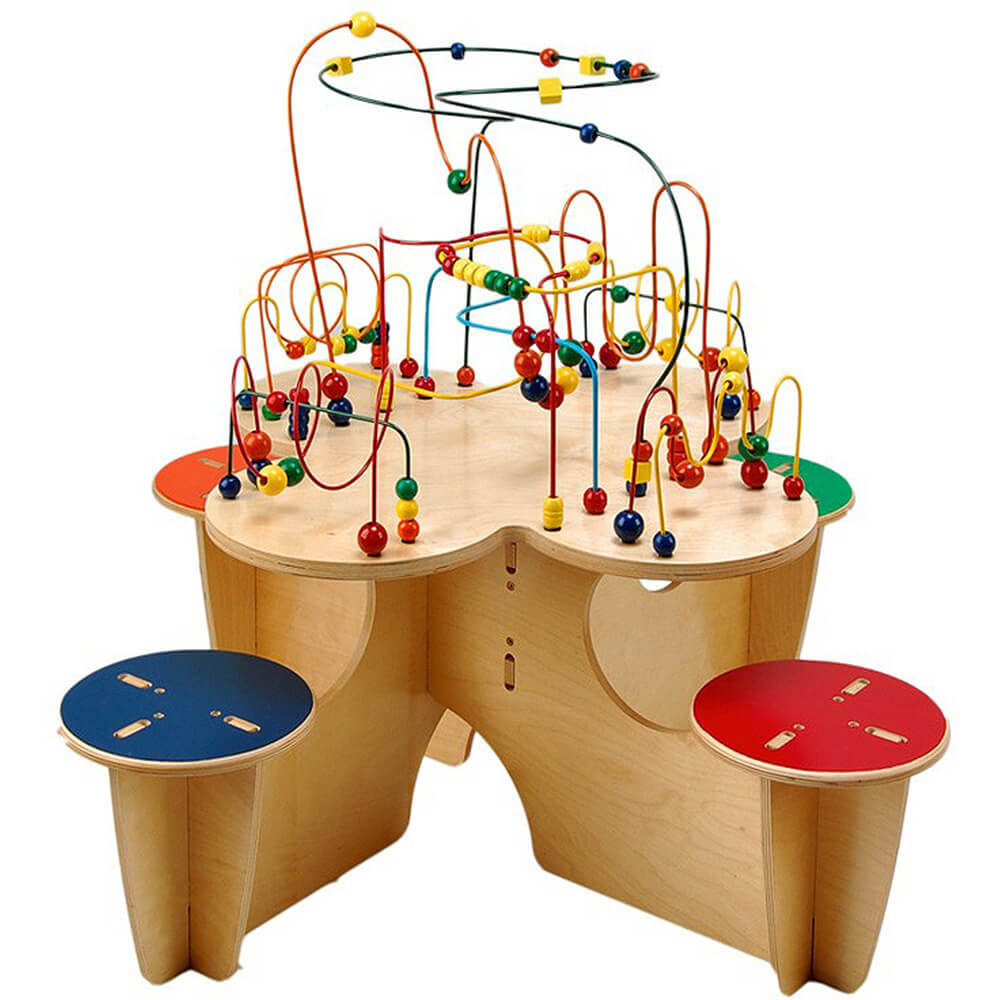 Fleur Roller Coaster Table With 4 Attached Stools