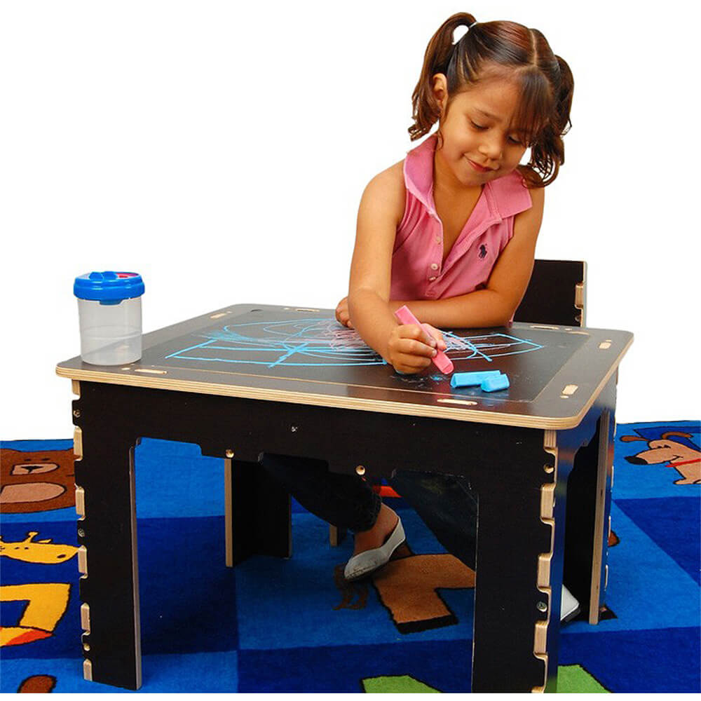 Flip Top Dry Erase And Chalk Kids Table With Bench, Dark Wood View 2