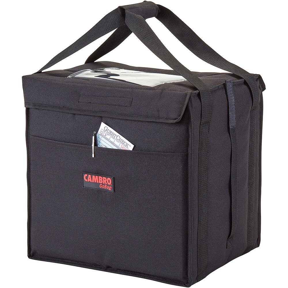 """Black, Nylon 12"""" X 15"""" X 15"""" Food Delivery Bag, Insulated Food Carrier, 4/PK"""