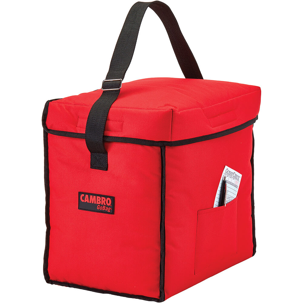 """Red, Nylon 13"""" X 9"""" X 13"""" Food Delivery Bag, Insulated Food Carrier, 4/PK"""