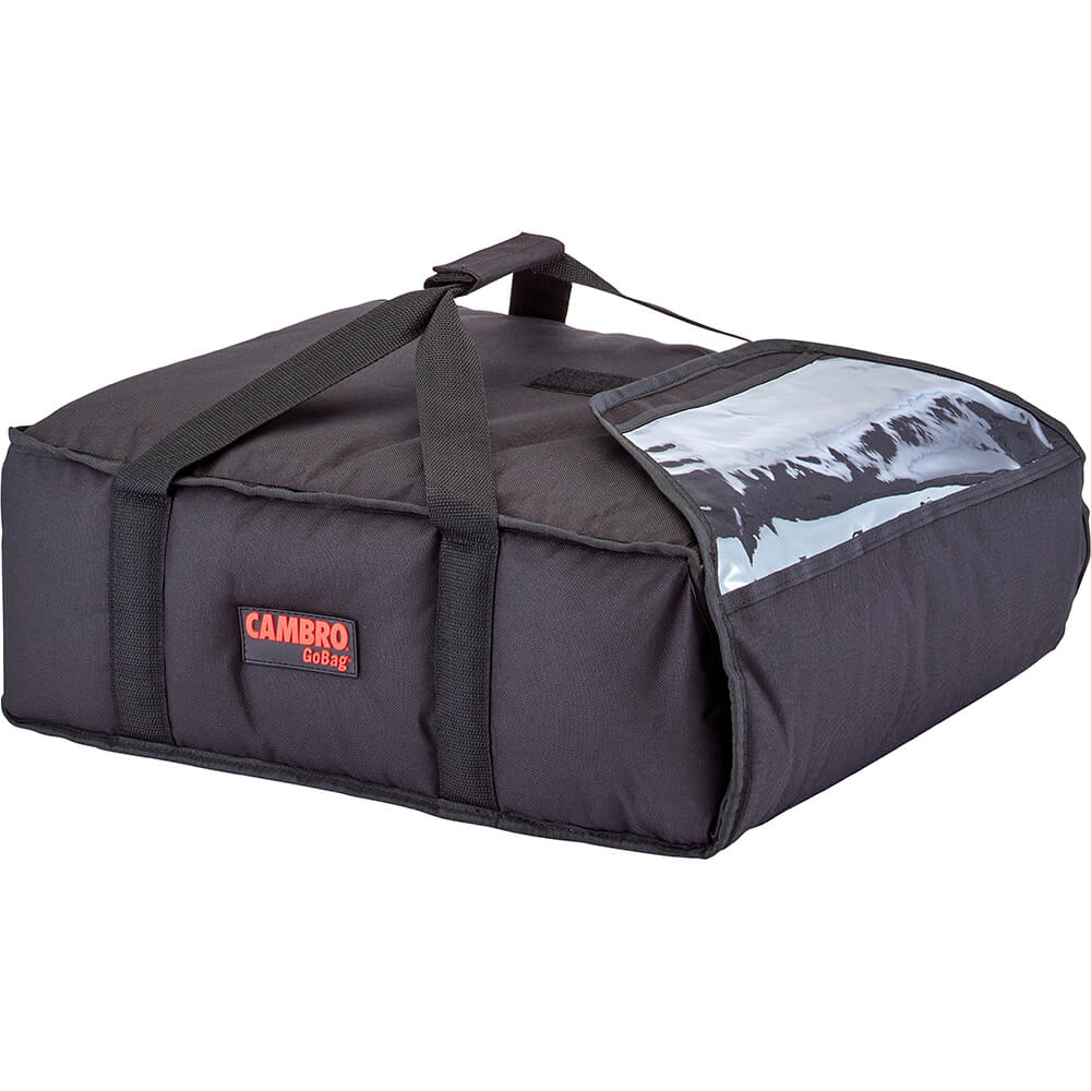 """Black, Polyester Insulated Pizza Bag, Food Delivery Bag Holds (2) 16"""" Or (3) 14"""" Pizza Boxes, 4/PK"""