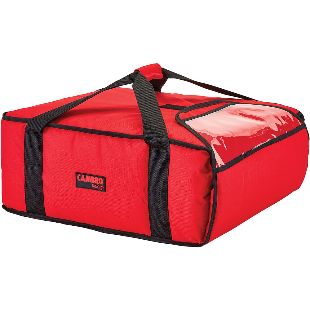 """Red, Polyester Insulated Pizza Bag, Food Delivery Bag Holds (3) 18"""" Or (4) 16"""" Pizza Boxes, 4/PK"""