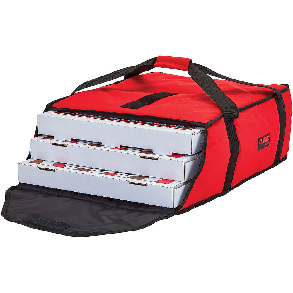 """Red, Polyester Insulated Pizza Bag, Food Delivery Bag Holds (3) 18"""" Or (4) 16"""" Pizza Boxes, 4/PK View 2"""