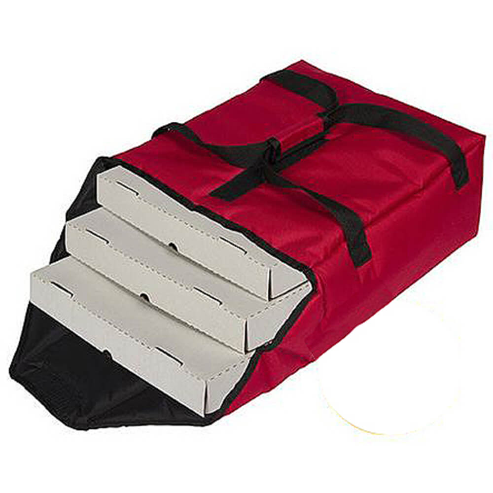 "Red, Nylon Insulated Premium Pizza Bag, Food Delivery Bag Holds (2) 14"" Or (3) 12""pizza Boxes"