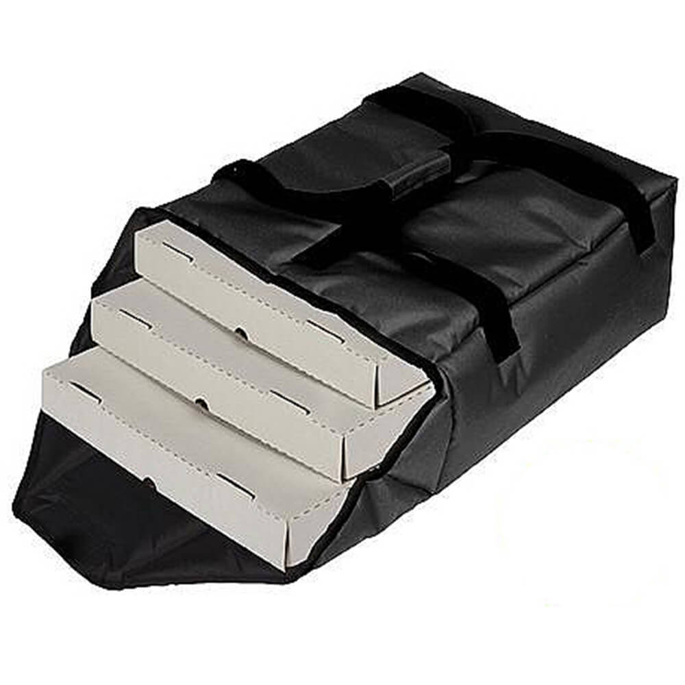 "Black, Nylon Insulated Premium Pizza Bag, Food Delivery Bag Holds (2) 18"" Or (3) 16""pizza Boxes"