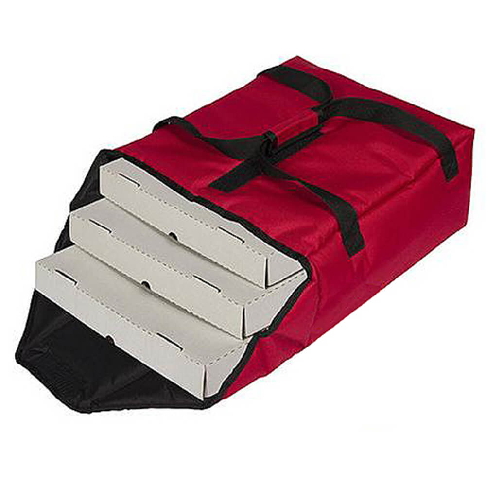 """Red, Nylon Insulated Premium Pizza Bag, Food Delivery Bag Holds (2) 18"""" Or (3) 14""""pizza Boxes"""