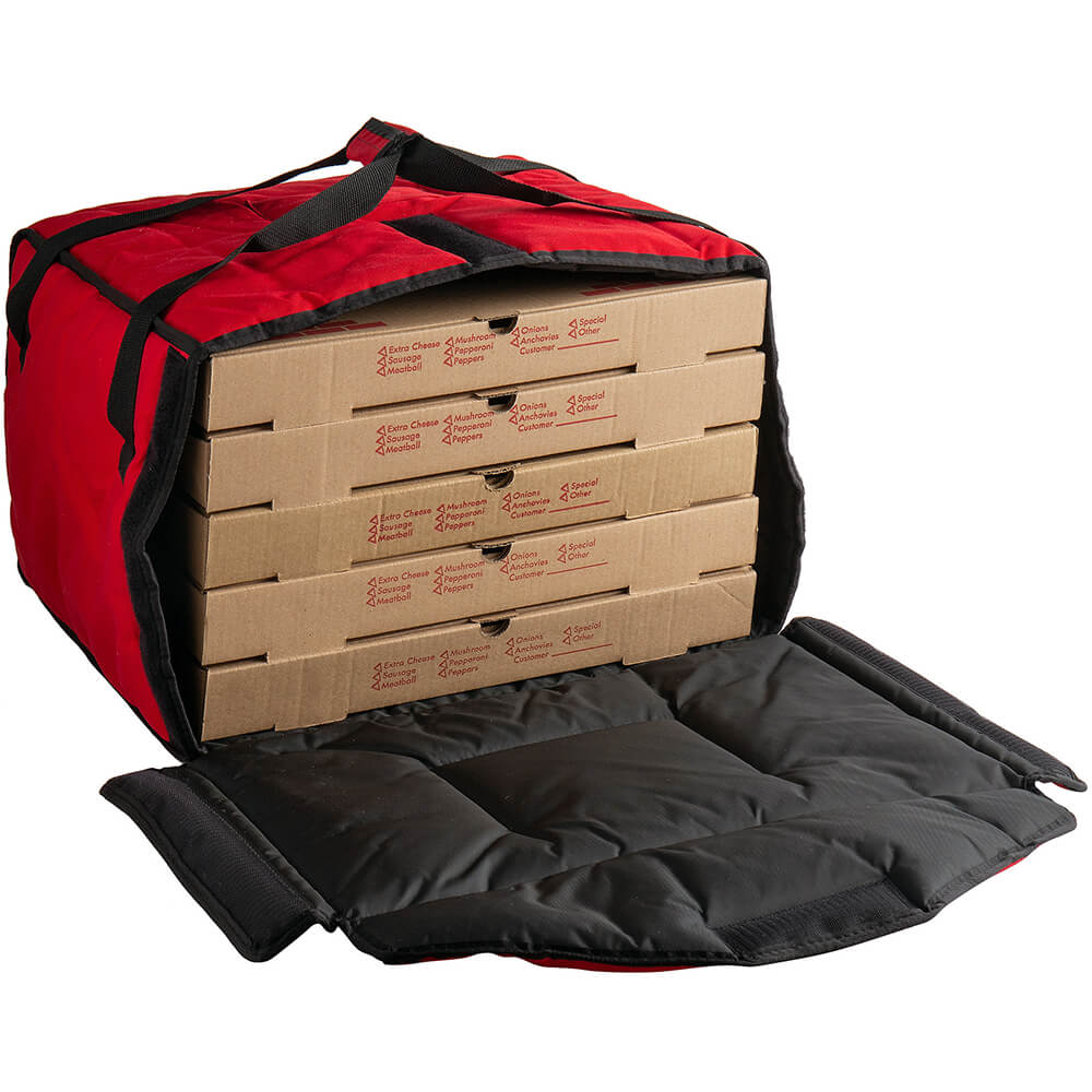 "Red, Nylon Insulated Premium Pizza Bag, Food Delivery Bag Holds (5) 18"" Pizza Boxes View 2"