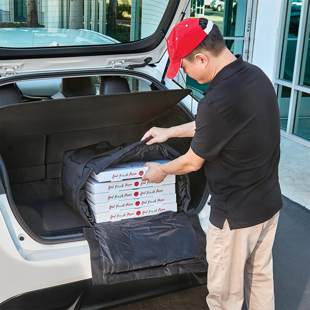 "Black, Nylon Insulated Premium Pizza Bag, Food Delivery Bag Holds (2) 18"" Or (3) 16""pizza Boxes View 3"