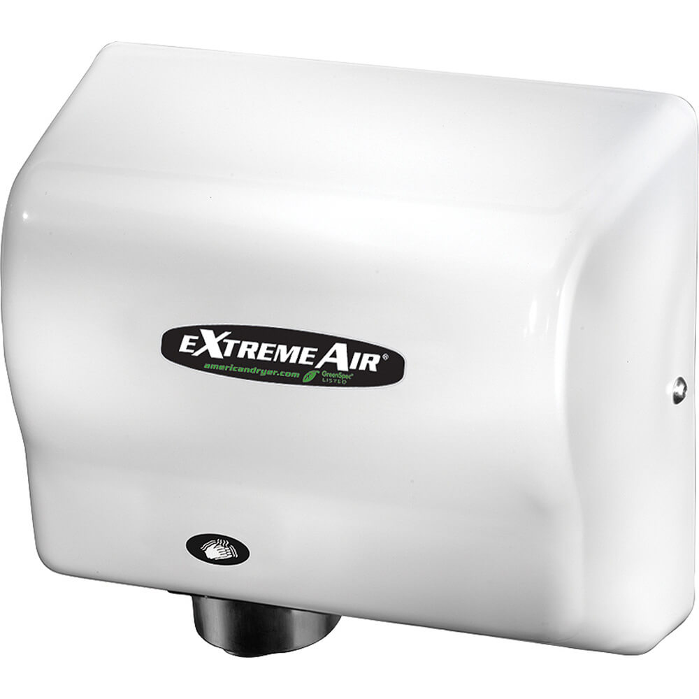 White, ExtremeAir GXT Heated Hand Dryer, Flame Retardant ABS, 100-240V
