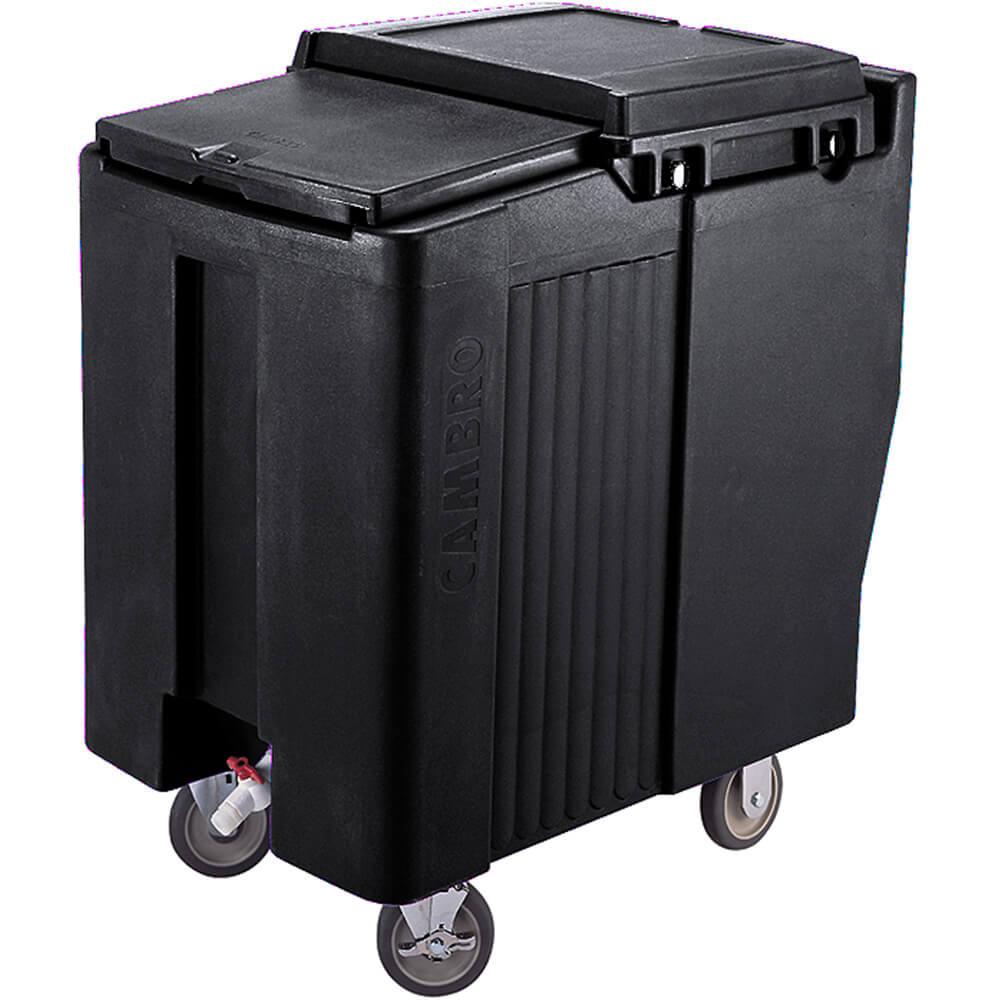 Black, Tall Ice Bin / Caddy, 125 Lb. Capacity, 2 Swivel Casters