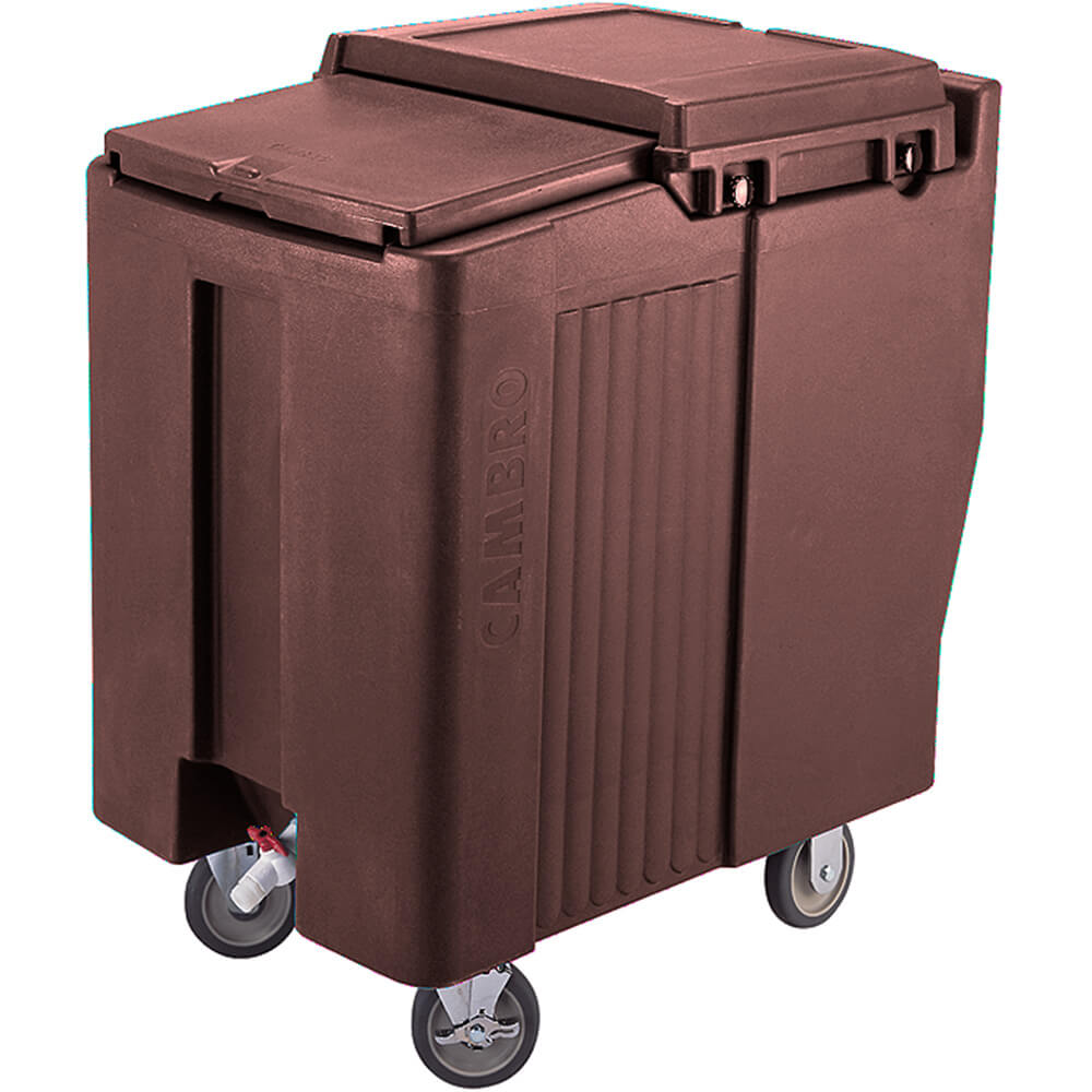 Dark Brown, Tall Ice Bin / Caddy, 175 Lb. Capacity, 2 Swivel Casters
