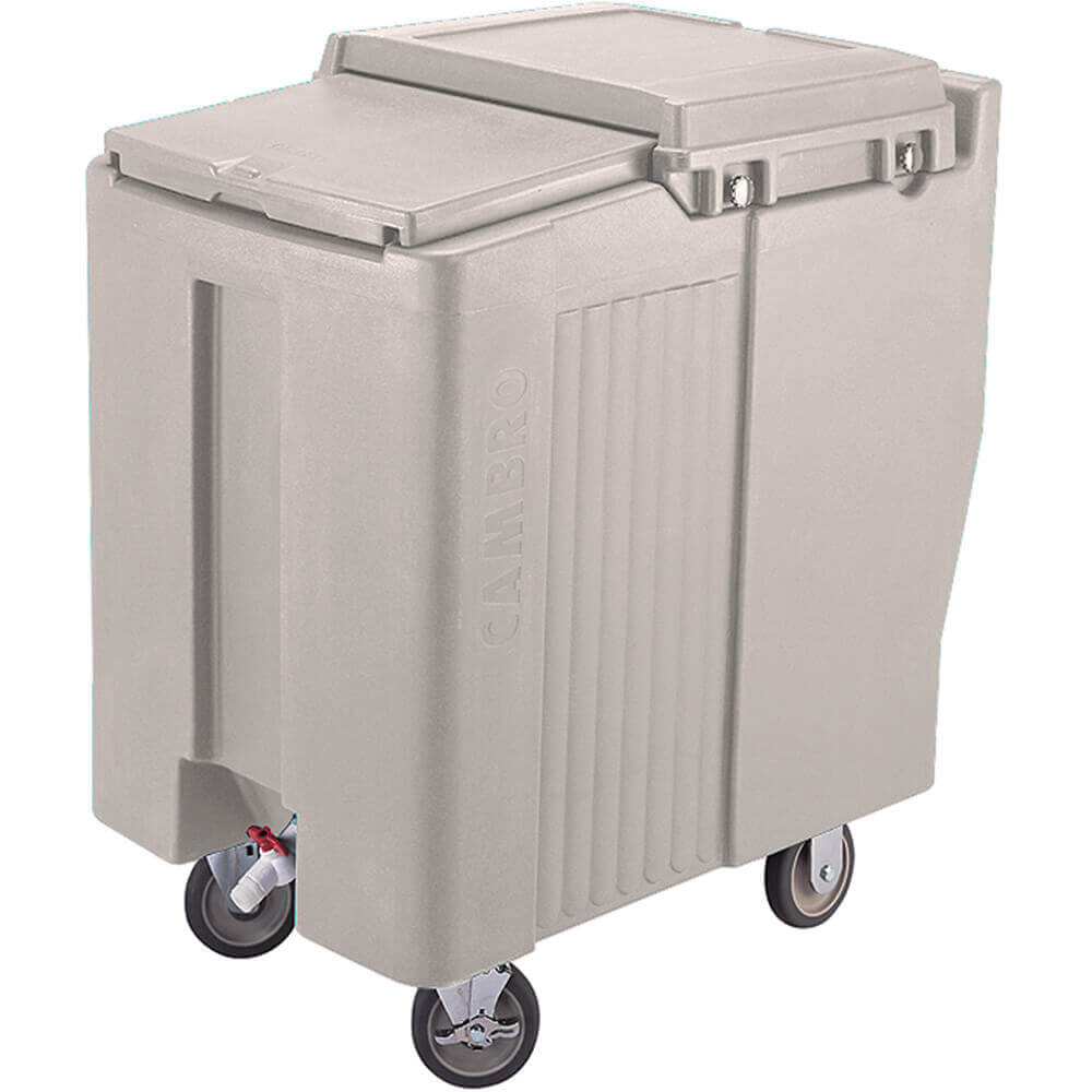 Gray, Tall Ice Bin / Caddy, 125 Lb. Capacity, 2 Swivel Casters
