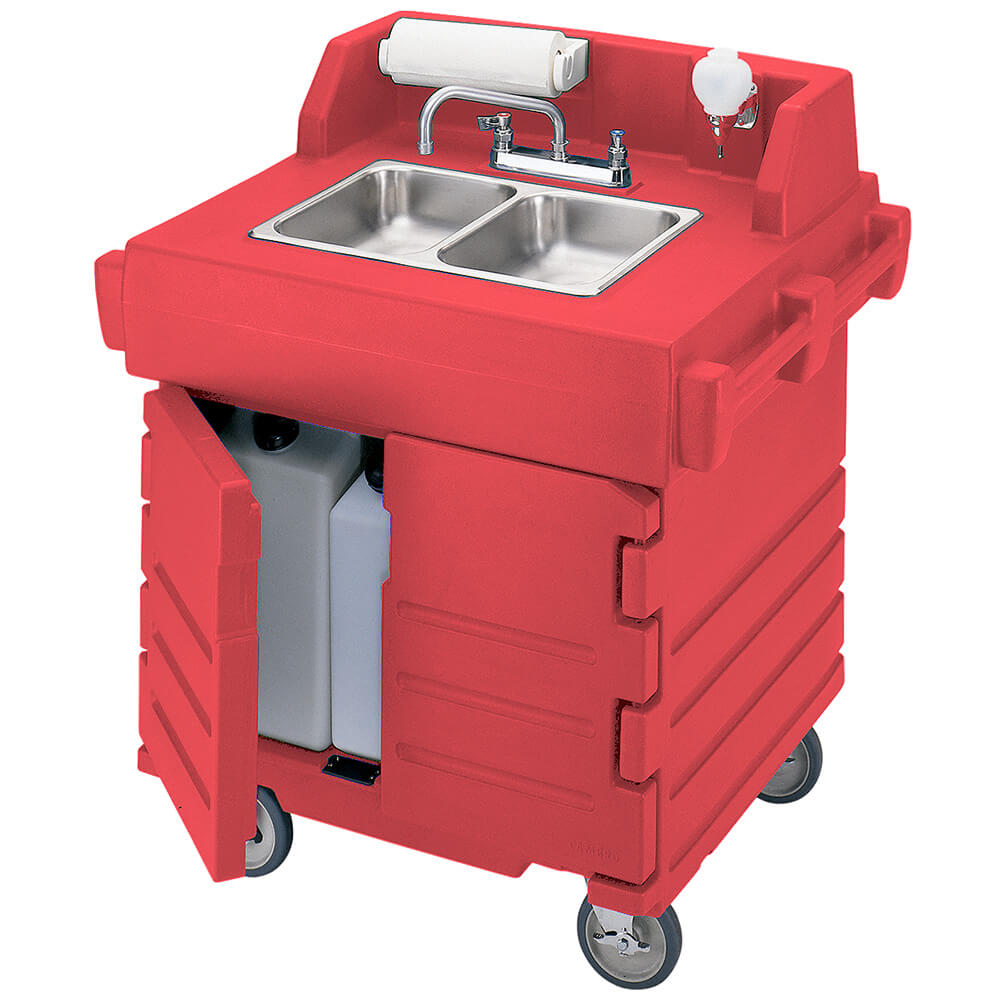 Hot Red, Portable Hand Sink Cart, Self-Contained, 110V