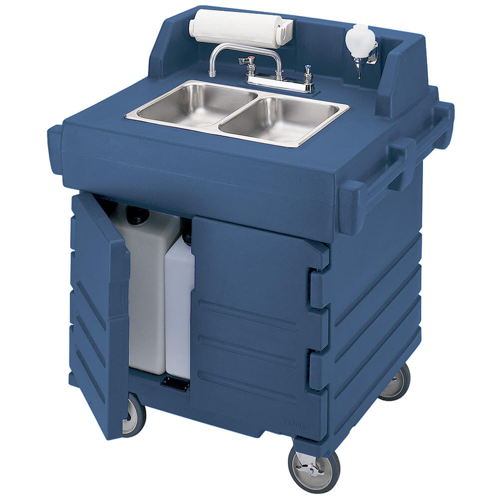 Navy Blue, Portable Hand Sink Cart, Self-Contained, 110V