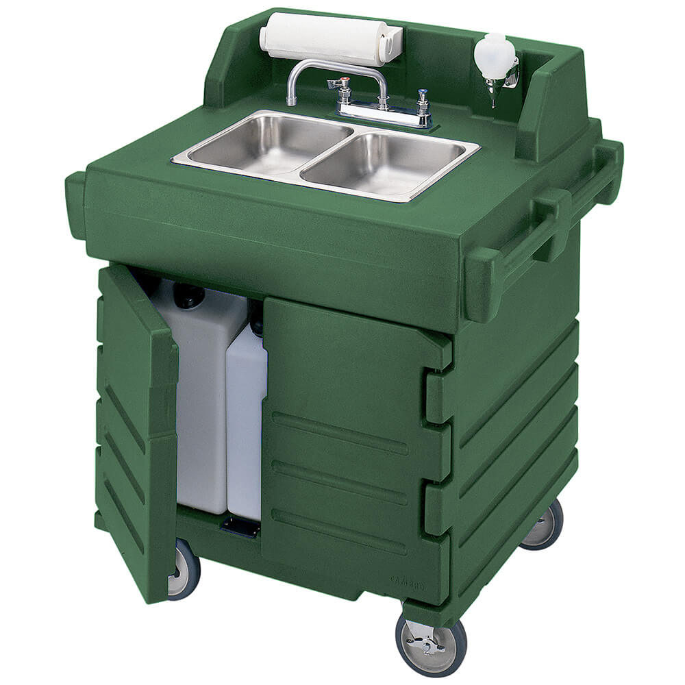 Green, Portable Hand Sink Cart, Self-Contained, 110V