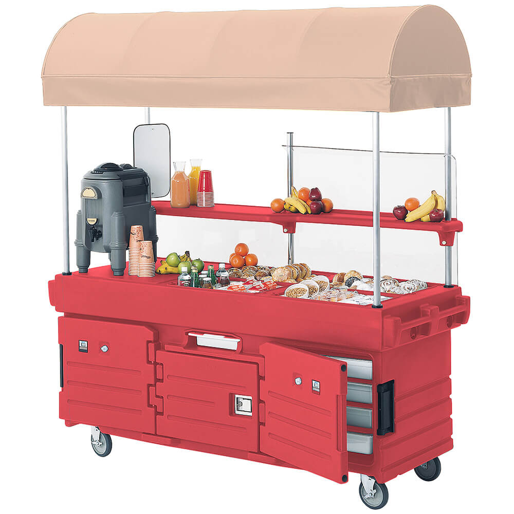 Hot Red, Mobile Food Kiosk with Canopy, 4 Food Pan Wells