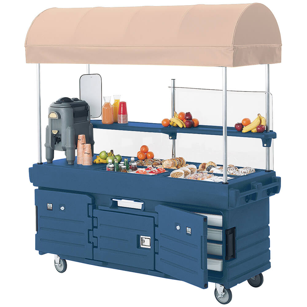 Navy Blue, Mobile Food Kiosk with Canopy, 4 Food Pan Wells